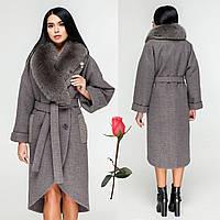 378ea125ca0 Зимнее женское пальто с шалевым воротником и натуральным мехом F-1089 Серый