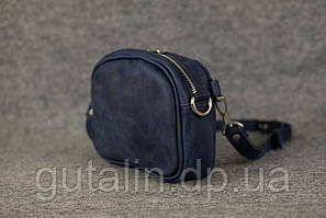 Женская сумка ручной работы из натуральной кожи Клатч цвет синий