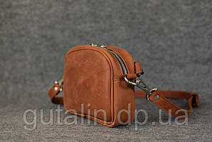 Женская сумка ручной работы из натуральной кожи Клатч цвет коньяк