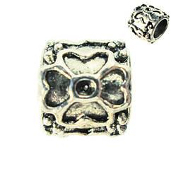 Бусина Шарм Цветы, Металлическая, Цвет: Серебро в стиле Пандора