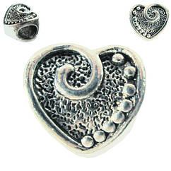 Бусина Шарм Сердце, Металлическая, Цвет: Серебро в стиле Пандора