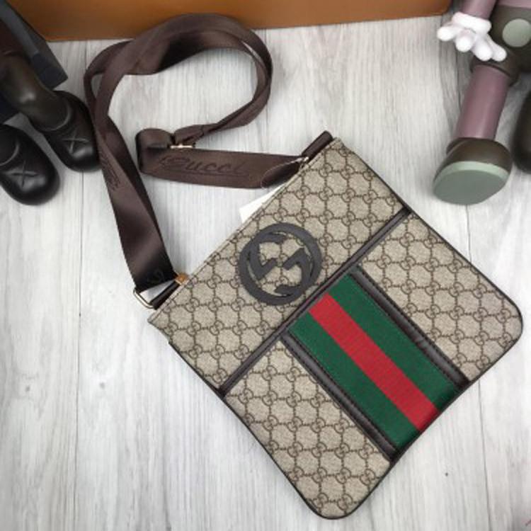 Брендовая женская сумка-планшетка Gucci коричневая сумочка унисекс через плечо кожа PU Гуччи реплика
