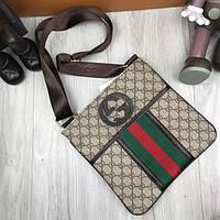 Брендовая женская сумка-планшетка Gucci коричневая сумочка унисекс через плечо кожа PU Гуччи реплика, фото 1