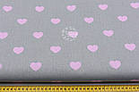 Натуральная ткань с розовыми сердечками 3 см на сером фоне №404, фото 5