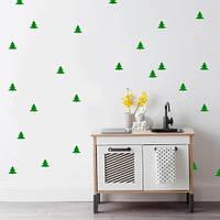 Интерьерная новогодняя наклейка на обои Елочки (виниловый стикер, декор стен, елки)