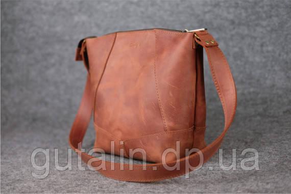 Женская сумка ручной работы из натуральной кожи Comfort цвет коньяк
