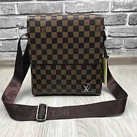 cb314c1b911a Молодежная мужская сумка планшетка Louis Vuitton коричневая через плечо  унисекс кожзам Луи Виттон реплика