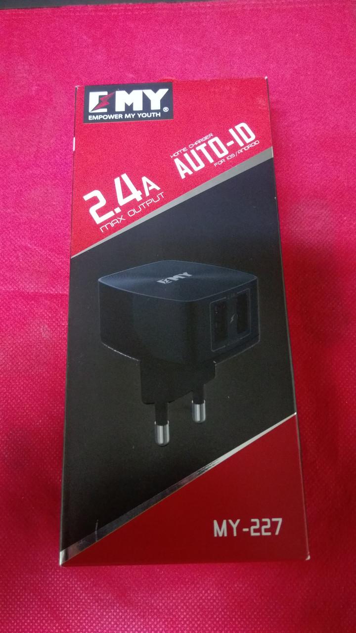 Зарядное устройство EMY MY-227 , 2USB 2.4A , черный