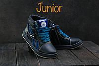 Подростковые кожаные кеды на меху Размер 31 34, фото 1