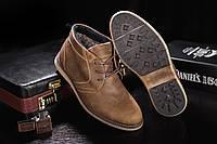 Ботинки Yuves Clarks 800 (зима, мужские, кожа, оливковый)