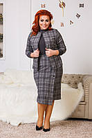 Костюм женский жакет и юбка в клетку по 56 размер  р41203-2, фото 1