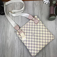 85fec873dcbb Эффектная женская сумка-планшетка Louis Vuitton LV белая сумочка через  плечо кожа PU Луи Виттон