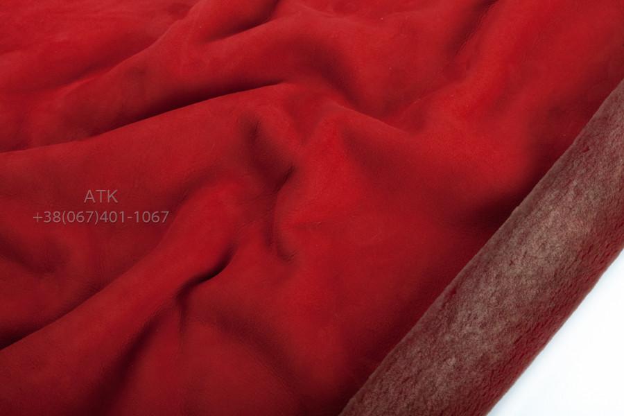 Дубленочный мех Интерфино на замше красный