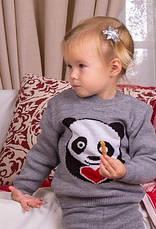 """Костюм детский шерстяной """"Литл Панда"""" (свитер + гамаши), для мальчика, цвет серый, фото 3"""