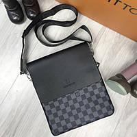 68704cac3e9a Качественная мужская сумка-планшетка Louis Vuitton LV черная серая через  плечо унисекс кожа ПУ реплика
