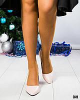 Туфли женкие кожаные пудра, фото 1