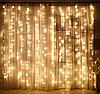 Новогодняя гирлянда шторка 3х3м, белый теплый
