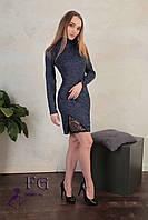 Стильное мини платье-гольф с кружевом. Разные цвета, размеры: 42-44, 46-48., фото 1