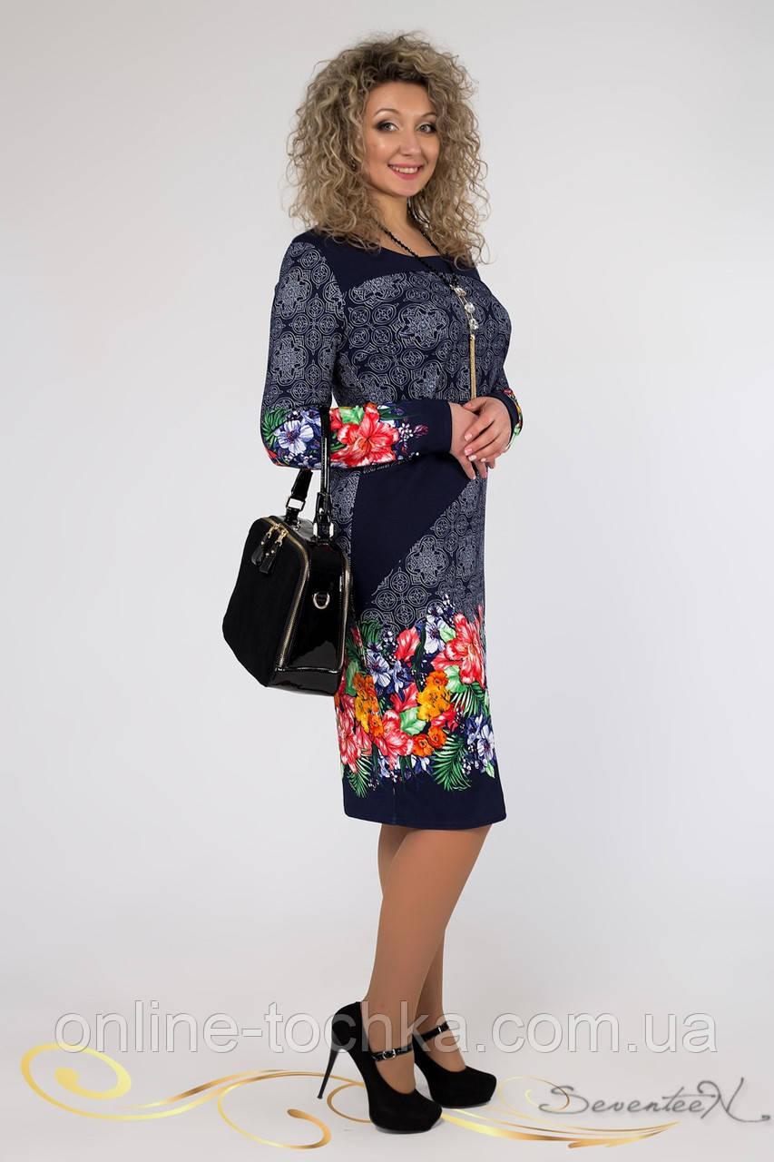 d99e119f63c6547 🔴Темно-синее легкое платье с ярким цветочным принтом / Размер 52, 54,