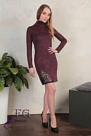 Стильное мини платье-гольф с кружевом. Разные цвета, размеры: 42-44, 46-48.