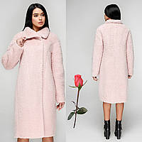 Женское зимнее  пальто  из итальянской шерстяной ткани  F  771084  Розовый