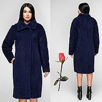 Женское зимнее  пальто  из итальянской шерстяной ткани  F  771084  Синий