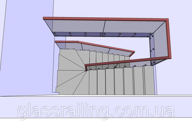 Проект стеклянного ограждения бетонной лестницы