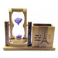 Годинник пісочний з підставкою для ручок фіолетовий пісок(19х15х5,5 см)