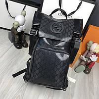 Стильный женский рюкзак Gucci черный классический городской рюкзачок  унисекс эко-кожа Гуччи люкс реплика 09cc109af72
