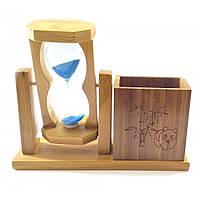 Годинник пісочний з підставкою для ручок синій пісок(19х15х5,5 см)