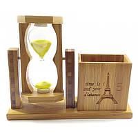 Часы песочные с подставкой для ручек желтый песок(19х15х5,5 см)
