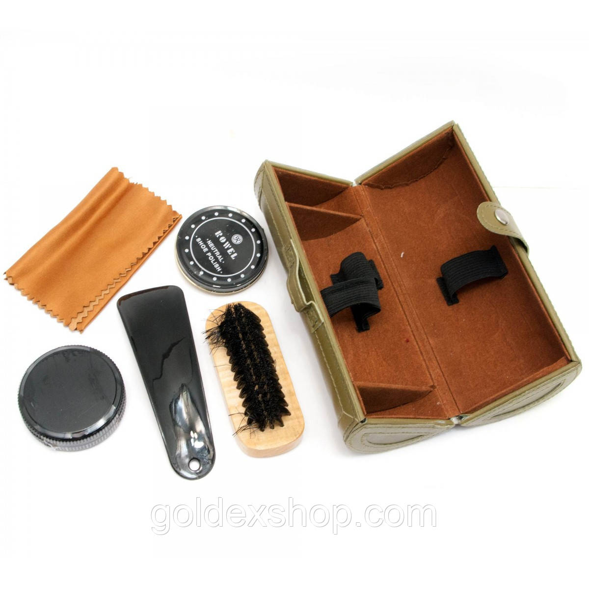 Дорожный набор для ухода за обувью в футляре коричневый (16,5х7х7 см)