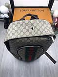 Брендовый женский рюкзак Gucci коричневый Премиум Качество портфель Новинка 2019 года Стильный Гуччи реплика, фото 5