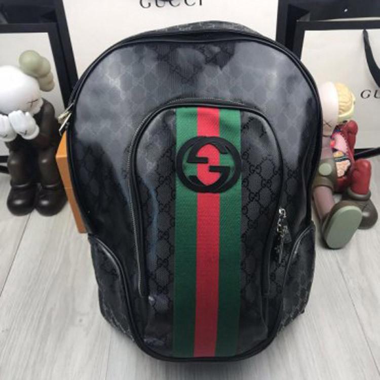 Трендовый мужской рюкзак Gucci черный стильный городской рюкзачок унисекс кожа ПУ Гуччи люкс реплика