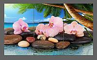 Модульная картина на стекле Орхидеи, пальмы, океан  120*70 см