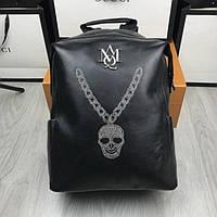 Кожаный мужской рюкзак  McQueen с черепом черный оригинальный городской унисекс кожа МакКвин люкс реплика
