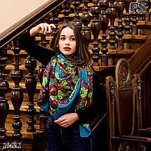 Бирюзовый платок без бахромы Букет цветов, фото 3