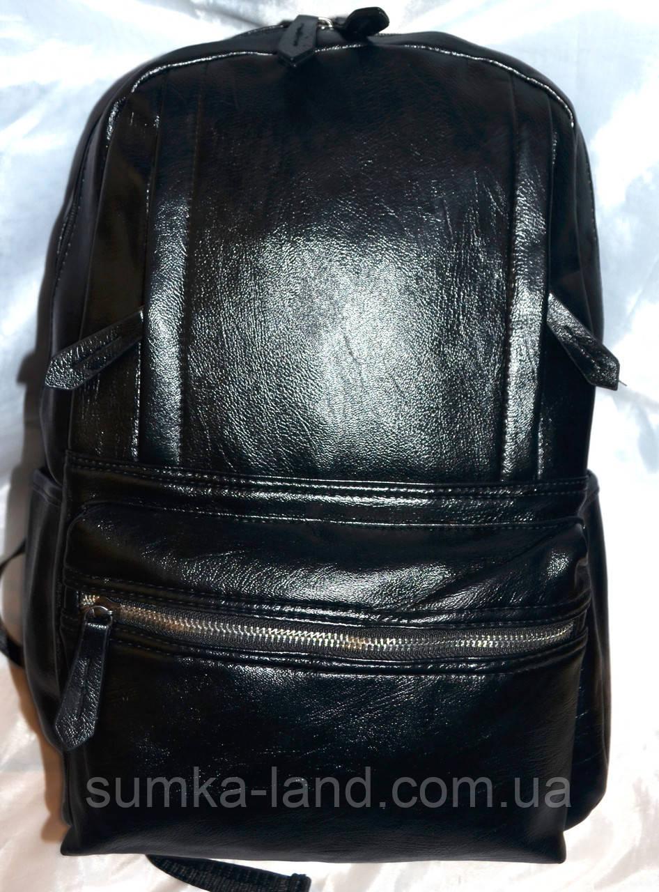 8fd4646121e4 Женский черный рюкзак хорошего качества из искусственной кожи 30*40 см (3  передних кармана)