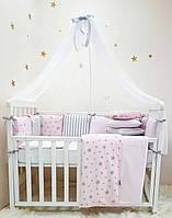 """Комплект в кроватку (бортики - подушки) Baby Design """"Stars"""" розовый (натуральный наполнитель - ekotton), фото 1"""
