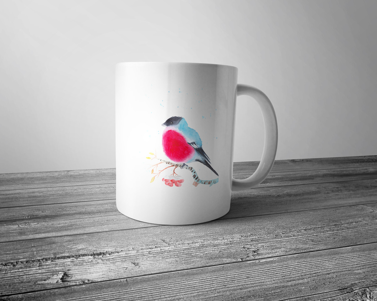 Чашка полноцветным изображением снегиря на ветке