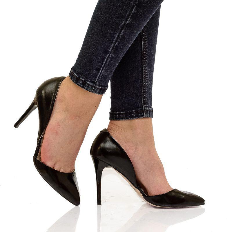 Женские кожаные лаковые туфли черного цвета на каблуке - Интернет магазин  кожаной обуви