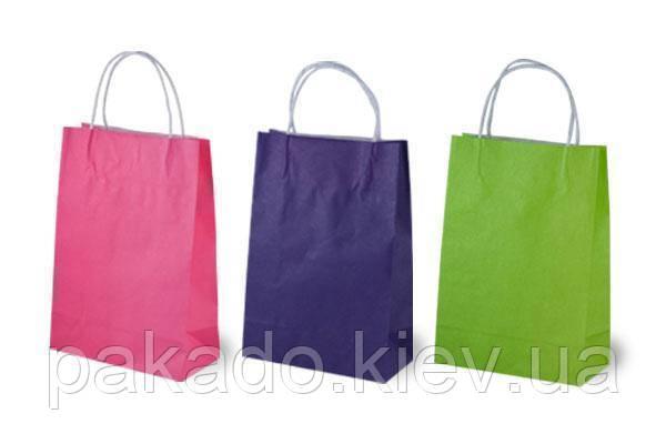 Бумажный пакет НА ВЫНОС 200х80х240 Розовый темный с ручками