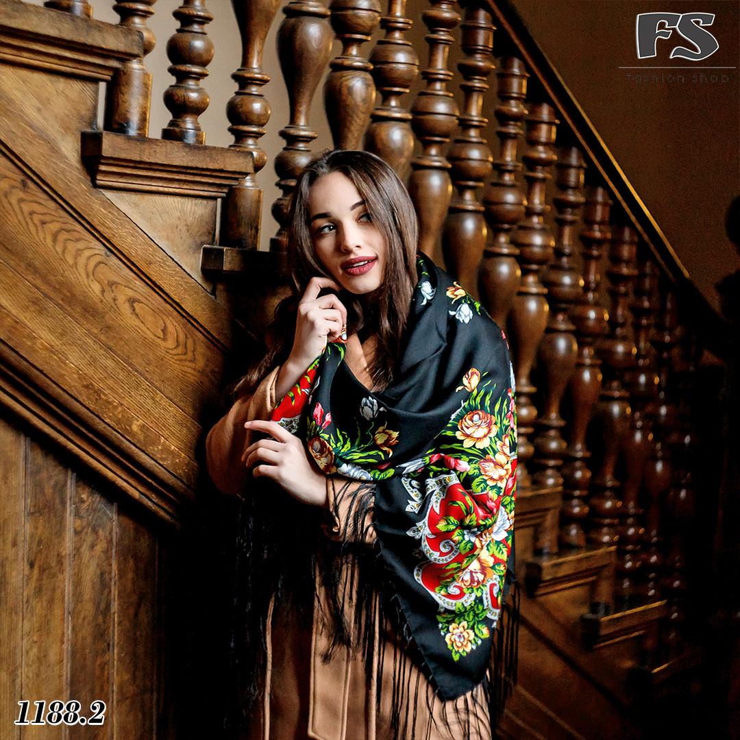 Чёрный павлопосадский шерстяной платок Василиса