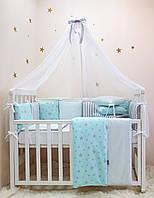 """Комплект в ліжечко (бортики - подушки) Baby Design """"Stars"""" м'ятний (натуральний наповнювач - ekotton), фото 1"""