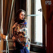 Синий павлопосадский шерстяной платок Голубка, фото 2