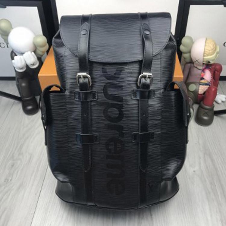 Кожаный женский рюкзак Louis Vuitton Supreme черный городской качественный унисекс кожа Суприм премиум реплика