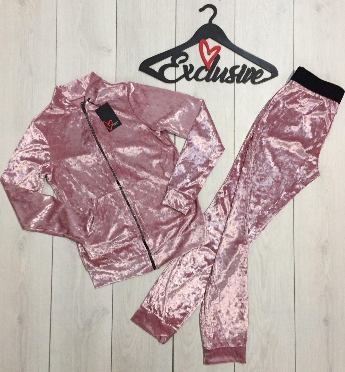 Бархатный женский костюм штаны и кофта 069-розовый.