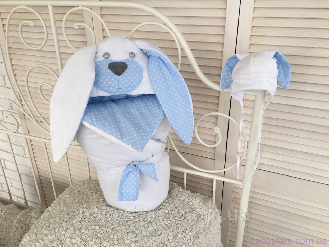 """Набор для новорожденного """"Мамина зайка"""", голубой, лето, деми"""