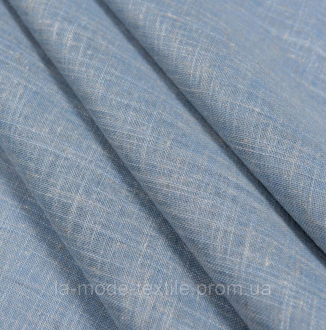 """Тюль лен джинс (светло синий) """"Кассиопия""""  в. 300 см с утяж"""