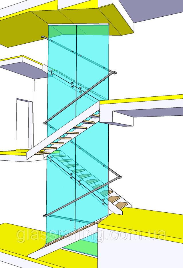 Проект лестницы со стеклянным ограждением